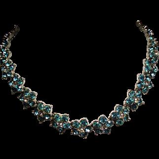 Vintage Bogoff Aqua & Colorless Rhinestone Flower Collar Necklace