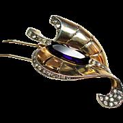 Vintage Marcell Boucher Turned Leaf Amethyst Glass Stone Sterling Fur Clip Phrygian Cap
