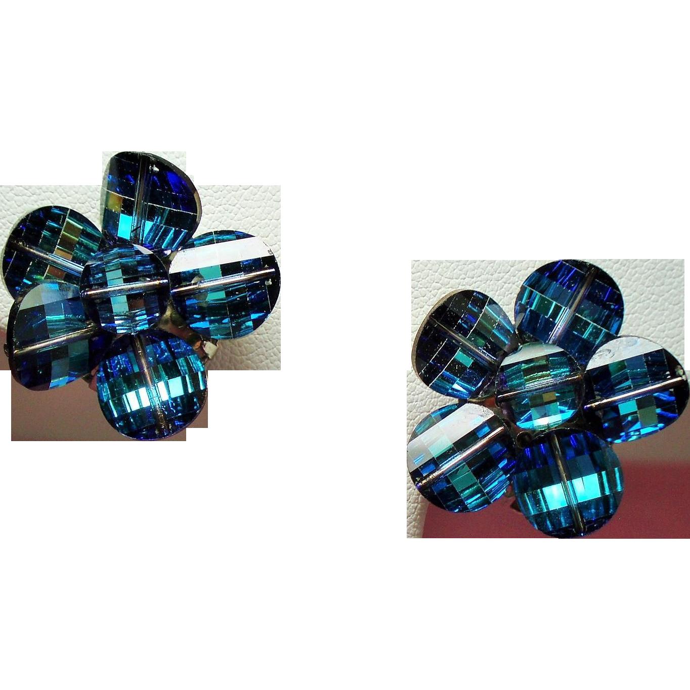 Vintage Laguna Eclipse Blue Pagoda Crystal Bead Flower Earrings