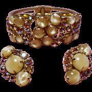 Vintage Juliana D&E Butterscotch Glass Cabochon Rhinestone Clamper Bracelet Earrings Demi Parure