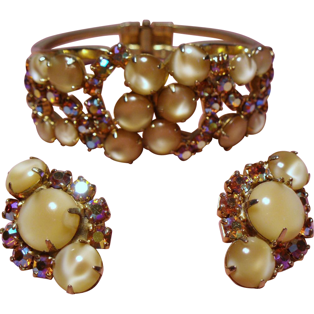 Vintage Juliana D&E Butterscotch Glass Cabochon Rhinestone Clamper Bracelet Earrings Demi Parure