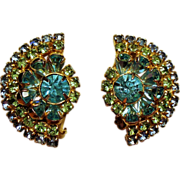 Vintage Hattie Carnegie Aqua Lime Rhinestone Earrings