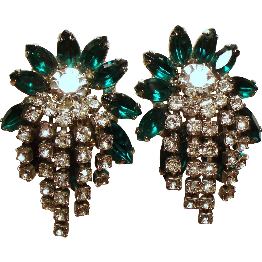 Vintage Hattie Carnegie Green Navette Rhinestone Cascading Earrings