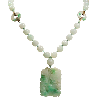 Vintage Art Deco Chinese Export Carved Jade Pendant Long Bead Necklace