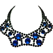 Vintage Couture Cobalt Blue Glass Open Back Stone Wide Scalloped Collar Necklace