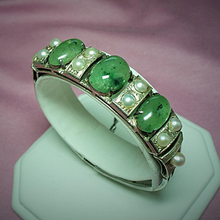 Vintage Chinese Export Jade Cabochon Stone Cultured Pearl Silver Hinged Bangle Bracelet