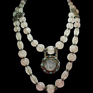 Vintage Chinese Export Silver Rose Quartz Bead Carved Medallion Pendant Necklace