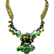 Vintage Chartreuse Lime Faceted Glass Givre Bead Hand Wired Drippy Rhinestone Pendant Necklace