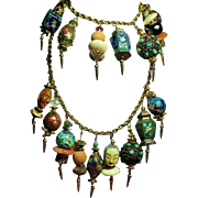 Vintage Asian Charm Bracelet Necklace Demi Parure