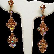 Vintage Champagne Aurora Borealis Crystal Bead Long Drop Earrings