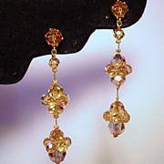 Vintage Champagne Aurora Borealis Crystal Bead Extra Long Drop Earrings
