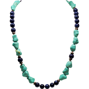 Vintage Chinese Knuckle Bone Turquoise Sodalite Bead Opera Length Sterling Necklace