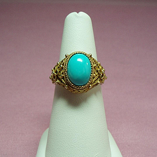 Vintage Chinese Export Persian Turquoise Gilt Silver Filigree Ring