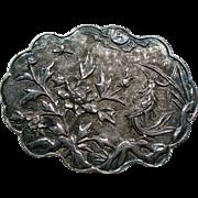 Vintage Chinese Export Silver Bird Garden Scalloped Brooch
