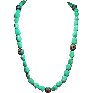 Vintage Chinese Export Aqua Green Turquoise Nugget & Cloisonne Bead Necklace