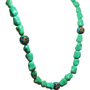 Vintage Chinese Turquoise Nugget and Cloisonne Bead Matinee Length Necklace