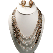 Vintage Faceted Champagne Aurora Borealis Crystal Bead Triple Strand Necklace & Earrings Set