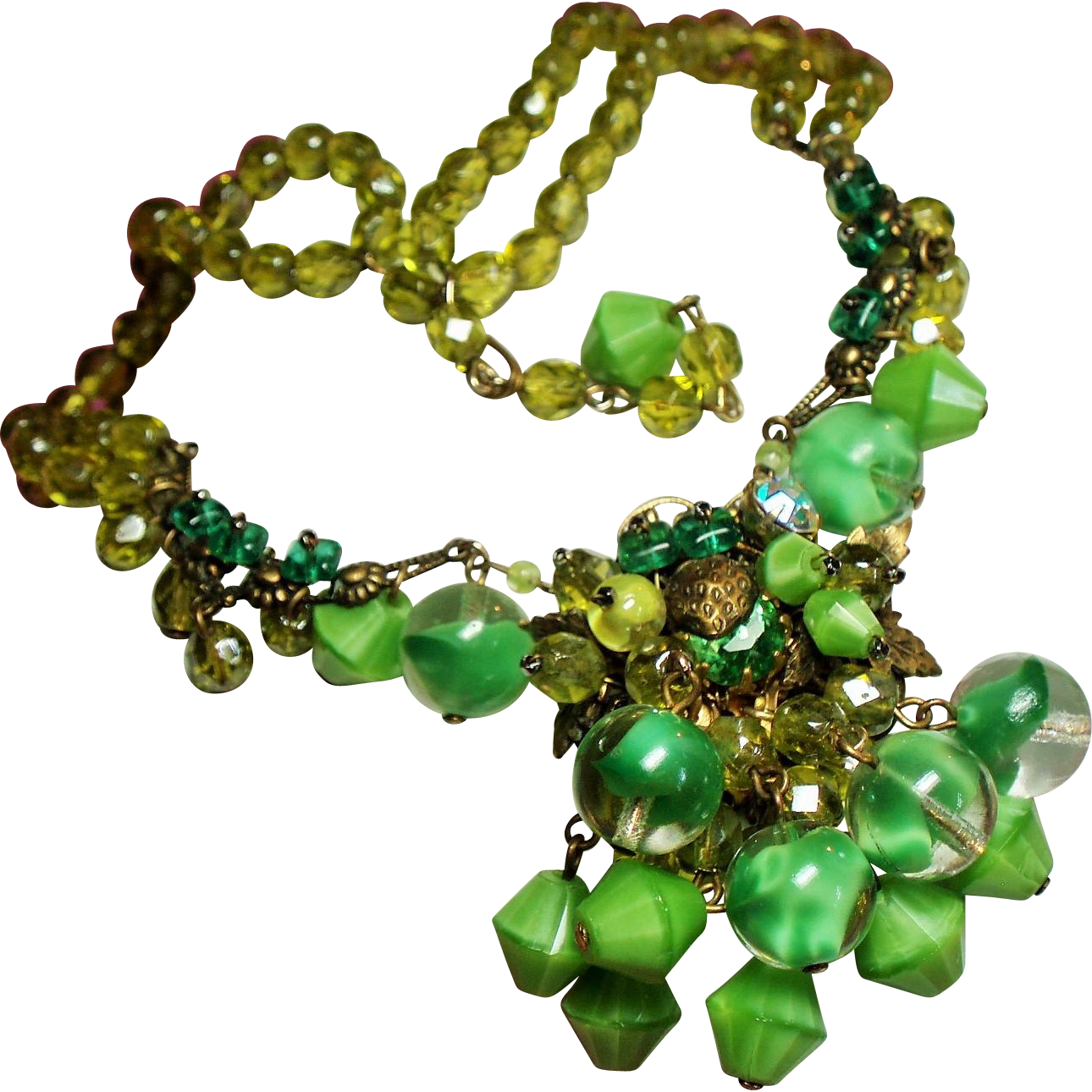 Vintage Chartreuse Faceted Glass Bead Hand Wired Lime Givre Drippy Pendant Rhinestone Swag Necklace