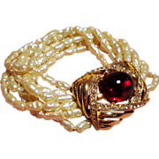 Vintage Ciner Simulated Fresh Water Pearl Multiple Strand Bracelet Huge Faux Ruby Cabochon Clasp