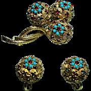 Vintage Ciner Faux Gemstone Encrusted Orbs Brooch Earrings Demi Parure