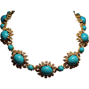 Vintage Ciner Simulated Turquoise Cabochon Rhinestone Choker Necklace
