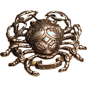 Vintage Cini Sterling Cancer the Crab Brooch
