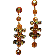 Vintage Citrine Colored Faceted Glass Bead Tiered Rhinestone Long Drop Earrings