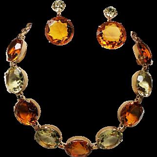 Vintage Huge Round Faceted Glass Faux Citrine & Lemon Open Back Stone Necklace Drop Earrings Demi Parure
