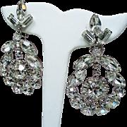 Vintage Stunning Colorless Navette Rhinestone Large Drop Hoop Earrings