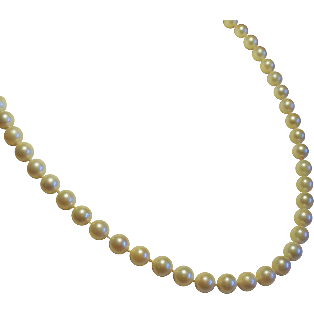 Vintage Cultured Pearl Princess Length Strand Necklace 14K Filigree Clasp