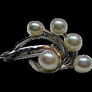 Vintage Cultured Pearl Petite Spray Sterling Brooch