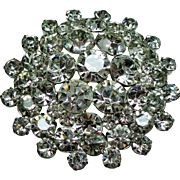 Vintage Colorless Rhinestone Large Dimensional Tiered Brooch