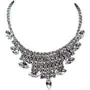 Vintage Colorless Rhinestone Modified Bib Necklace