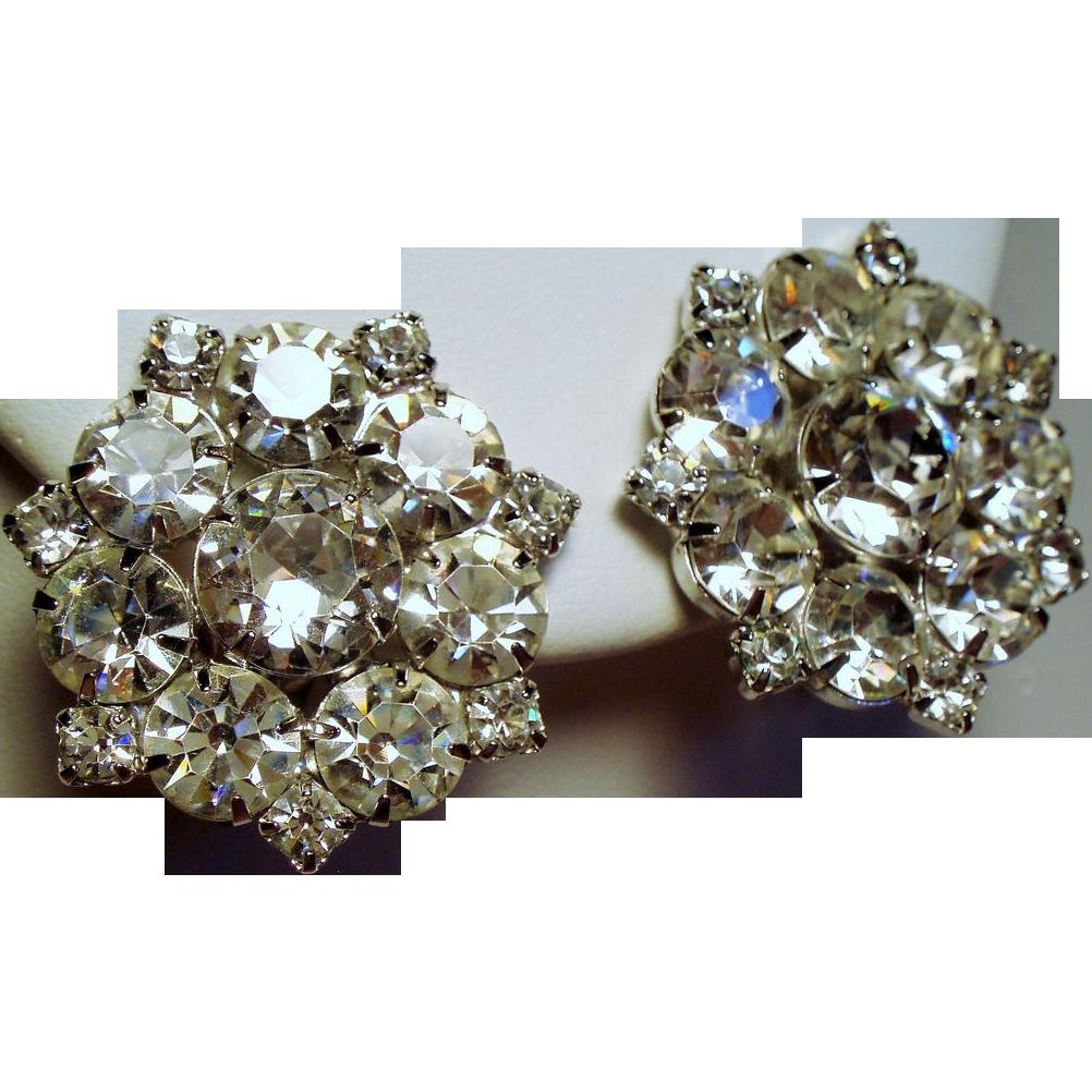 Vintage Clear Rhinestone Large Round Cluster Earrings