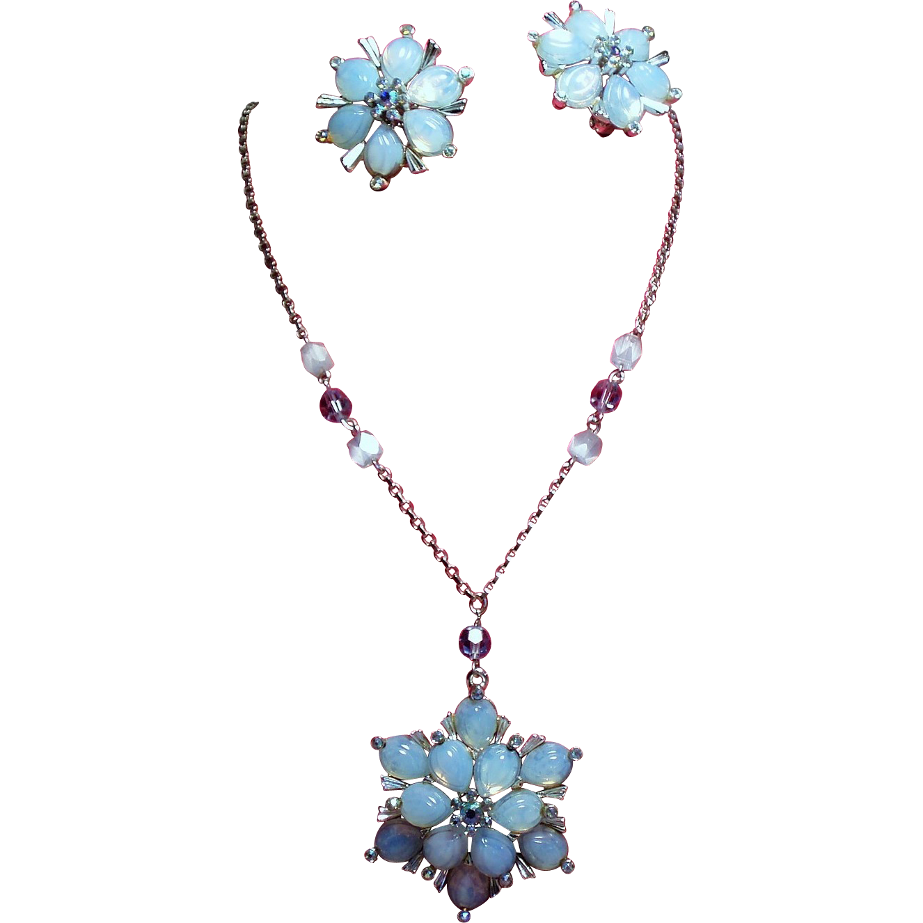 Vintage Claudette Blue Opaline Art Glass Stone Flower Necklace Earrings Demi Parure