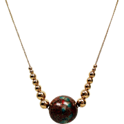 Vintage Large Cloisonne & Graduated Gold Bead 14K Necklace