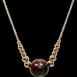 Vintage Large Cloisonne & Graduated Gold Bead 14K Necklace