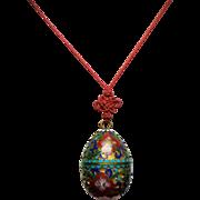 Vintage Asian Cloisonne Egg Trinket Box Pendant Necklace