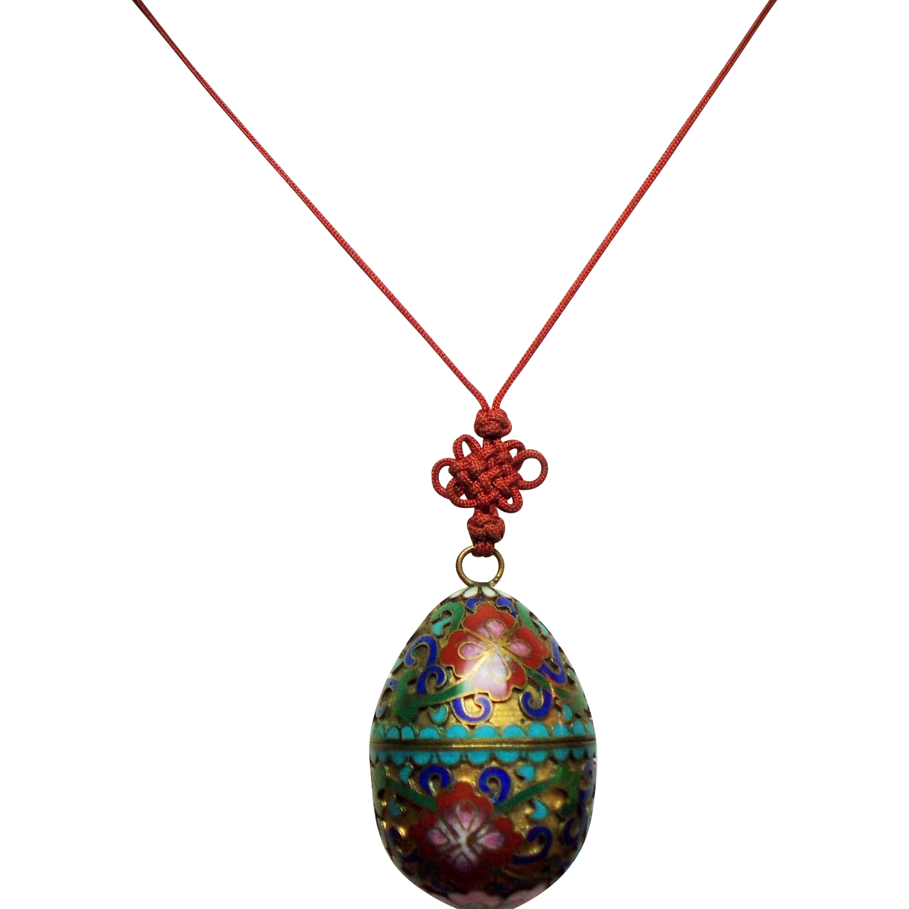Vintage Chinese Export Cloisonne Egg Trinket Box Pendant Necklace