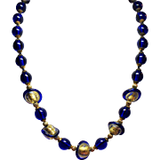 Vintage Cobalt Blue Gold Foil Saturn Glass Bead Princess Length Necklace