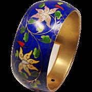 Vintage Cobalt Blue Cloisonne Floral Enamel Wide Bangle Bracelet