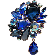 Vintage Large Cobalt Blue Open Back Rhinestone Brooch with Drop