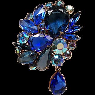 Vintage Large Cobalt Blue Open Back Rhinestone Brooch with Drop
