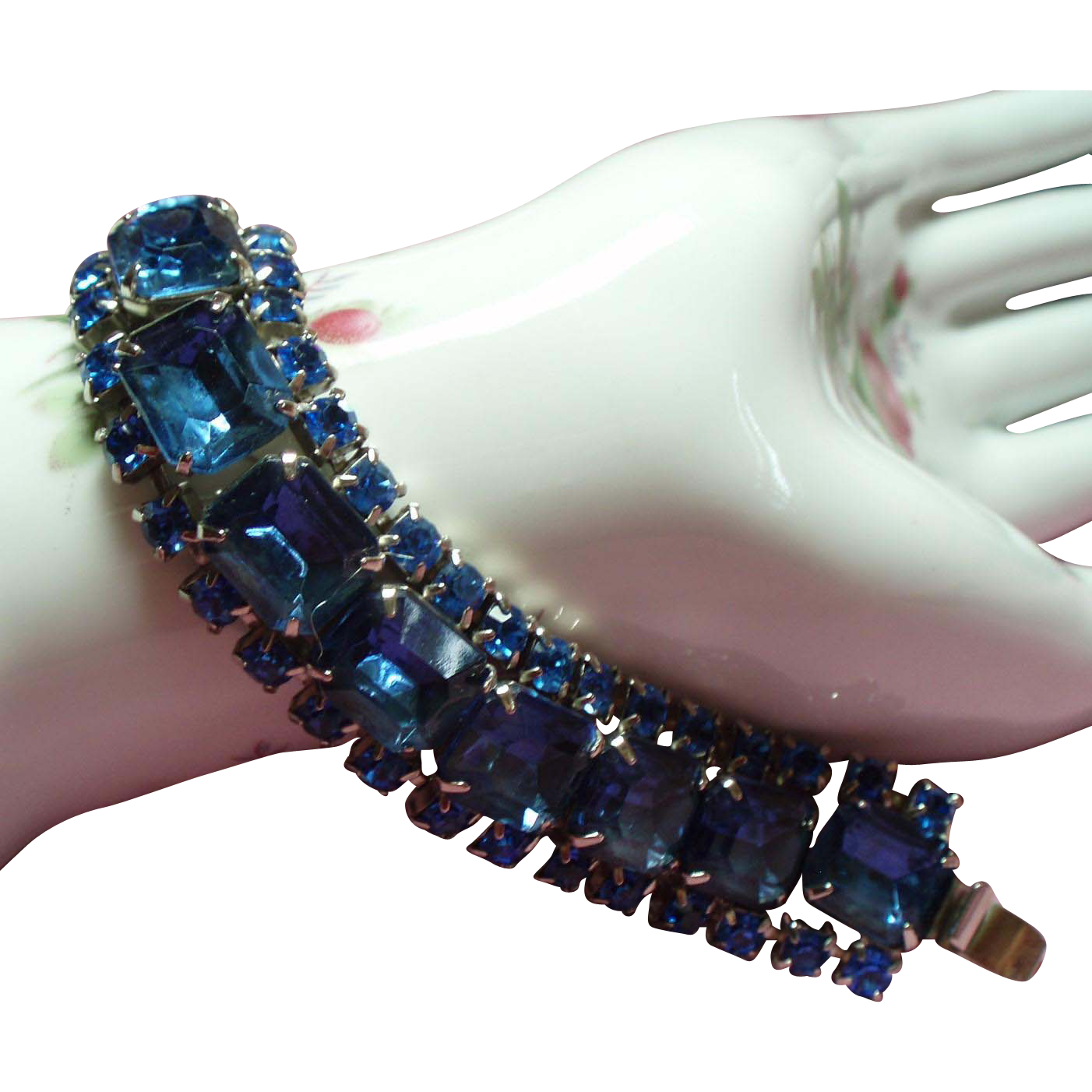 Vintage Cobalt Blue Chunky Rhinestone Bracelet
