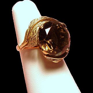 Vintage Huge Faceted Cognac Brown Smoky Quartz 14K Gold Cocktail Ring