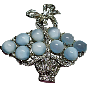 Vintage Unsigned Coro Moonglow Cabochon Stone Basket Brooch.