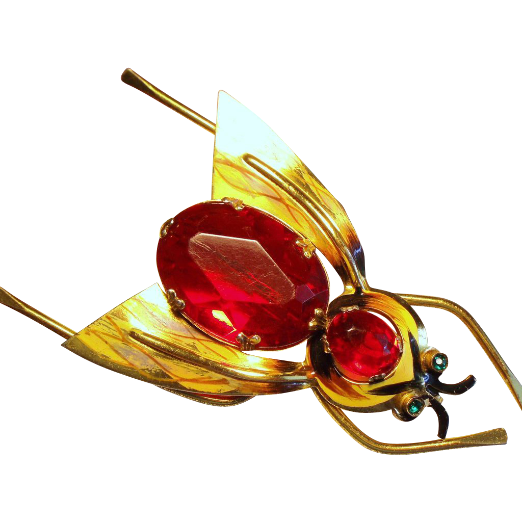 Vintage Coro Sterling Red Belly Insect Bug Brooch
