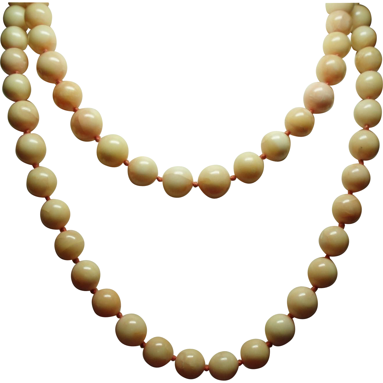 Vintage 9 Millimeter Natural Coral Bead Opera Length Necklace