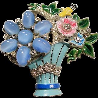 Vintage Coro Glass Cabochon Rhinestone Enamel Flower Basket Brooch