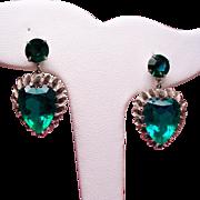 Vintage Coro Faceted Green Glass Heart Drop Earrings